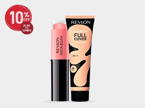 Combo Full Cover: Base para rostro + Rubor en barra Revlon