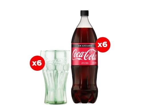 6 Coca-Cola Sin Azúcar 2,25 Lt + 6 Vasos Coca-Cola (CBA, ROS, MDZ)