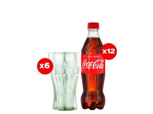 12 Coca-Cola 500 mL + 6 Vasos Coca-Cola (CBA, ROS, MDZ)
