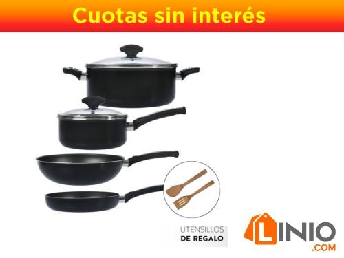 Batería de cocina linea black 8 piezas