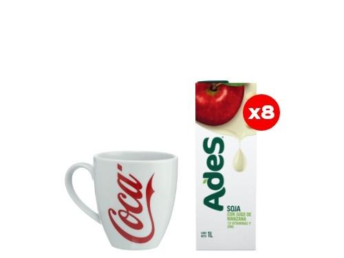 8 Ades Manzana 1L + 1 Taza Coca-Cola (CBA, ROS, MDZ)