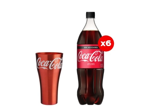 6 Coca-Cola Sin Azúcar 1,5 Lt + Vaso de aluminio (CBA, ROS, MDZ)