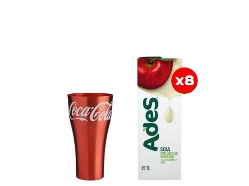 8 Ades Manzana 1L + 1 Vaso de aluminio Coca-Cola (CBA, ROS, MDZ)