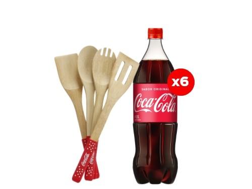 6 Coca-Cola 1,5 Lt + Utensilios de madera (CBA, ROS, MDZ)