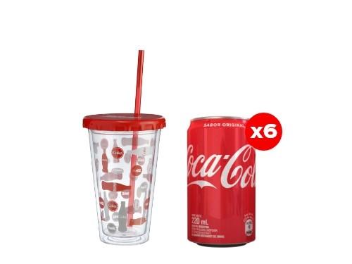 6 Coca-Cola 220 mL + Vaso plástico Coca-Cola (CBA, ROS, MDZ)