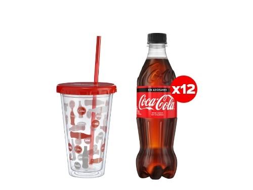 12 Coca-Cola Sin Azúcar 500 mL + Vaso plástico (CBA, ROS, MDZ)