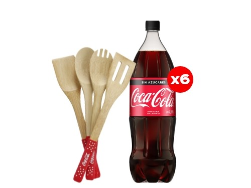 6 Coca-Cola Sin Azúcar 2,25 Lt + Utensilios de madera (CBA, ROS, MDZ)