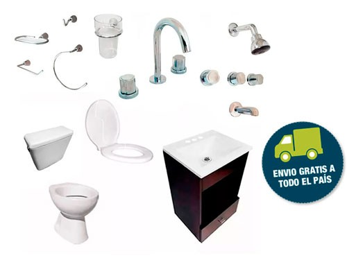 Kit Completo Baño Vanitory Moderno Sanitarios Loza Acc Envio
