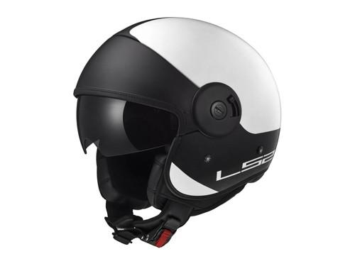 Casco Moto Abierto Visor Oscuro 97 Via Cabrio Blanco Negro LS2