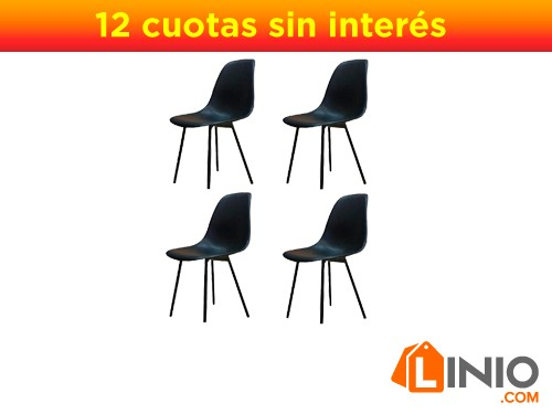 Silla Eames x4 de diseño Patas de hierro