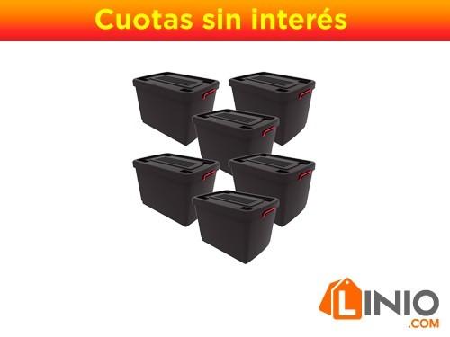 Juego De 5 Contenedores Heavy Box 95 Lts + 1 De Regalo