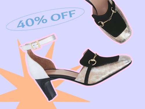 Zapato con punta rectancular tipo mocasín con herraje metálico