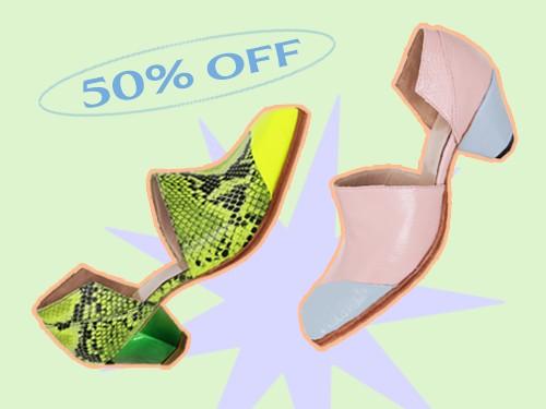 Zapato con recorte geométrico y puntera diagonal