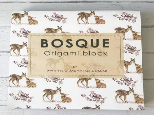 Block de 120 papeles para origami 15x15 cm Bosque