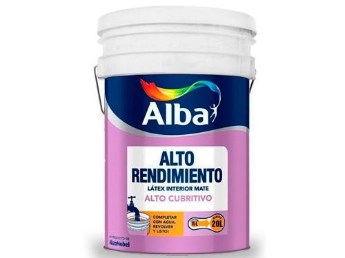 Pintura Latex Interior Alto Rendimiento Mate Blanco Alba