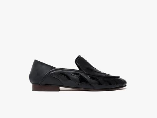 Loafer negro de cuero liso y charol - Paruolo
