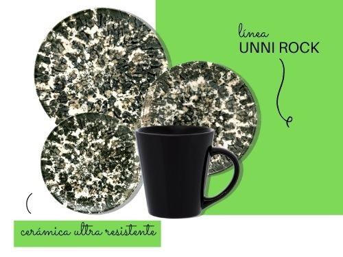 Juego de vajilla de cerámica de 16 piezas Unni Rock Oxford