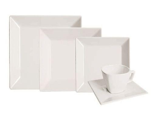 Juego de platos de porcelana de 16 piezas Cuadrado Blanco Oxford