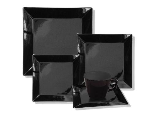 Juego de platos de porcelana de 16 piezas Cuadrado Negro Oxford