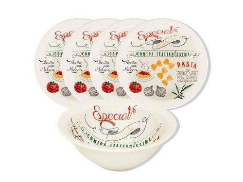 Set de pasta de cerámica de 5 piezas con platos hondos y bowl Oxford