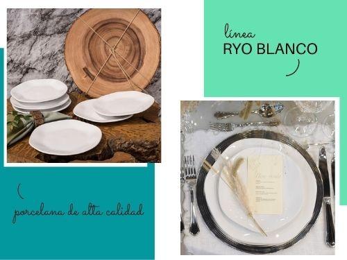Juego de platos de porcelana de 30 piezas Ryo Blanco Oxford