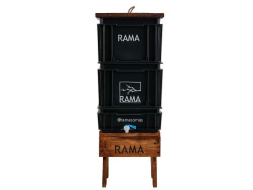 Compostera Balcón 40 litros + mesa + tapa madera