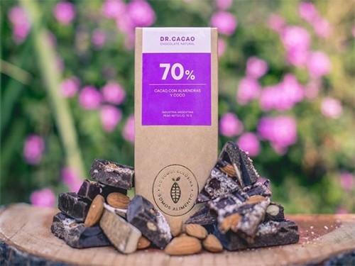Cacao Al 70% + Almendra + Coco - Chocolate Saludable - Dr Cacao - 80 G