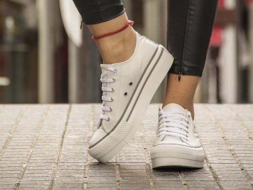 Zapatillas Urbanas De Cuero Con Plataforma Vulcanizada Para Mujer U.S.