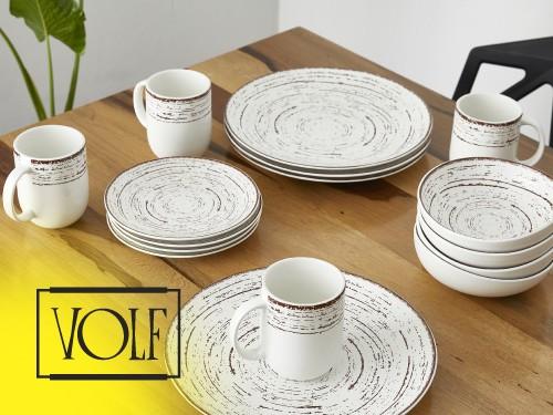 Set de Vajilla Porcelana Premium 16 Piezas VOLF