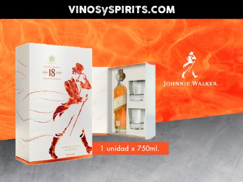 Whisky Estuche Johnnie Walker 18YO Label 750ml. + 2 vasos