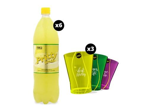 Pritty Limón 1.5 L x 6 unidades + 3 vasos acrílicos