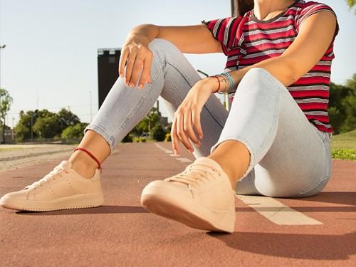 Zapatillas Urbanas De Cuero Rosa Para Mujer U.S.