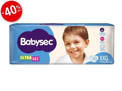 Pañales Babysec Ultra Sec Hiper Talle XXG x30un