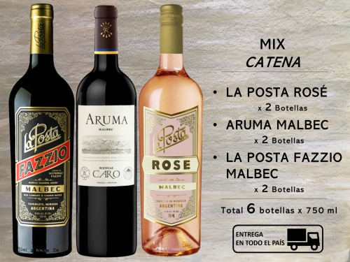 Mix CATENA: 2 La Posta Rosé, 2  La Posta Fazzio Malbec, 2 Aruma Malbec