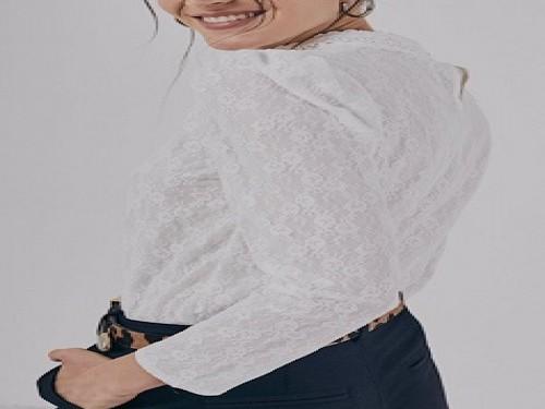 Blusa de mujer con encaje con forreria, manga larga - TWINLP