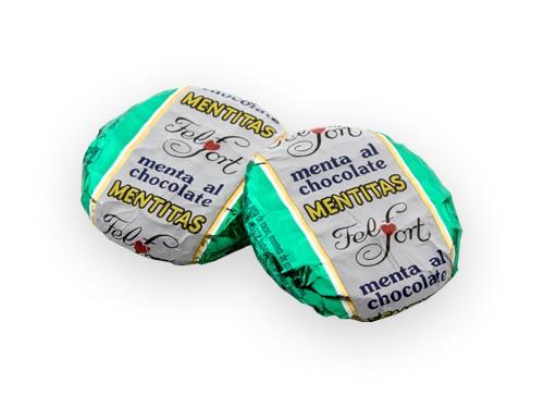 Mentitas. Chocolate relleno de menta. Caja con 30 u. de 17g.