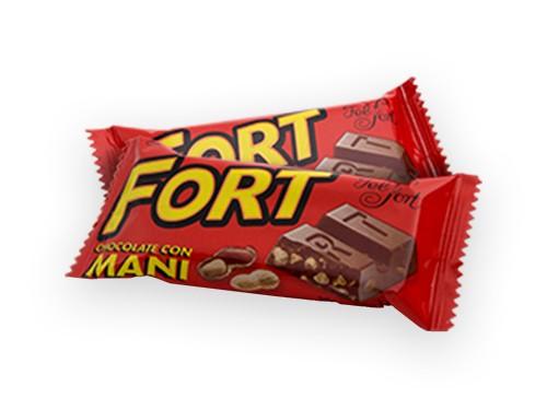 Fort Maní. Chocolate con maní. Felfort. Caja x 12u. de 30g.