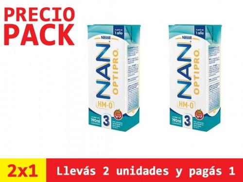 Nan Leche Infantil Líquida Premium x190ml Etapa 3 Optipro Hmo