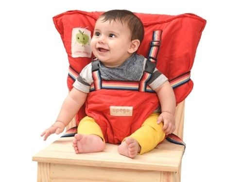 Silla de comer portátil para bebé Upego | Silla pocket Roja