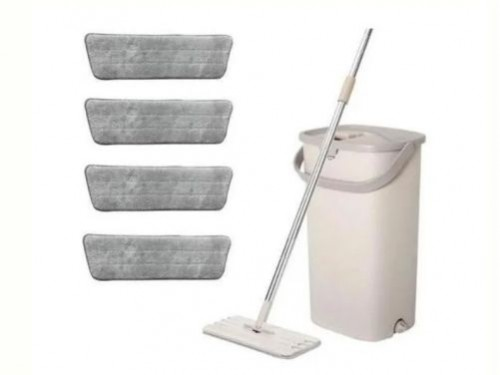 Limpiador Escurridor Mopa Plana + Balde De 5l + 4 Paños Vonne