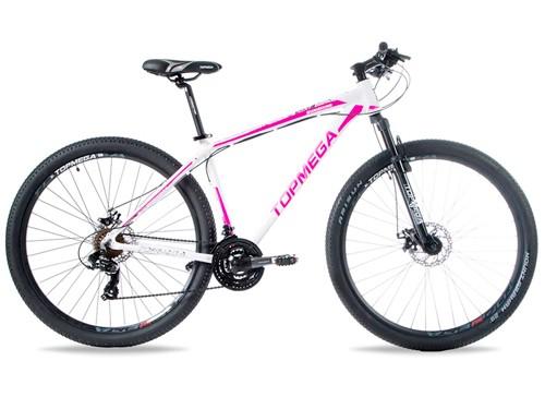 Bicicleta MTB Sunshine R29 Talle M 21v Shimano Blanco/Rosa Top Mega