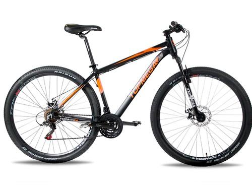 Bicicleta MTB Regal Aluminio R29 Talle M 21v Negra/Naranja Top Mega