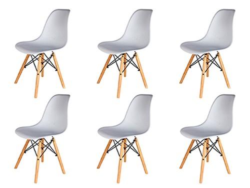 Sillas Eames Blancas Nordicas Modernas de Comedor 6 Unidades Home Kong