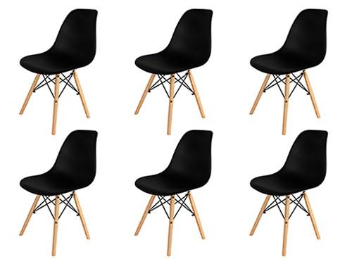 Sillas Eames Negras Nordicas Modernas de Comedor 6 Unidades Home Kong