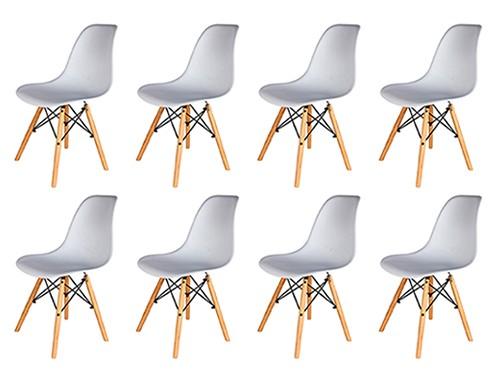 Sillas Eames Blancas Nordicas Modernas de Comedor 8 Unidades Home Kong