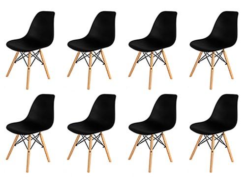 Sillas Eames Negras Nordicas Modernas de Comedor 8 Unidades Home Kong