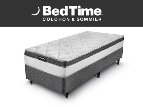 Sommier y Colchon Vibrant 1 Plaza y 1/2 100x190 BedTime