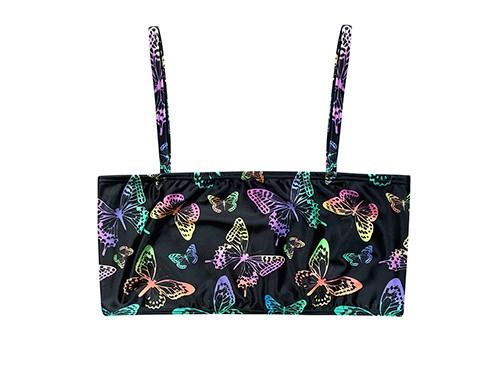 Corpiño bikini butterflies de lycra regulable, para tu viaje