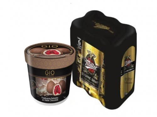 Gio Frambuesas en Doble Chocolate + Miller Rubia Genuine Draft 473mlx6