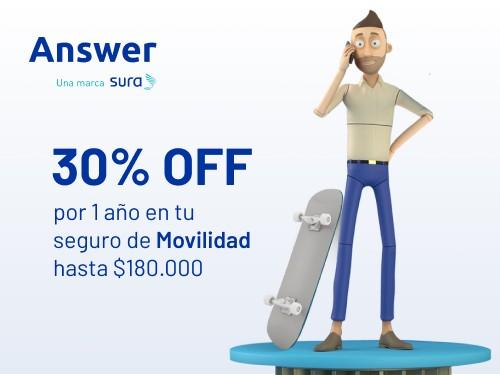 Seguro de Movilidad - Hasta $180.000